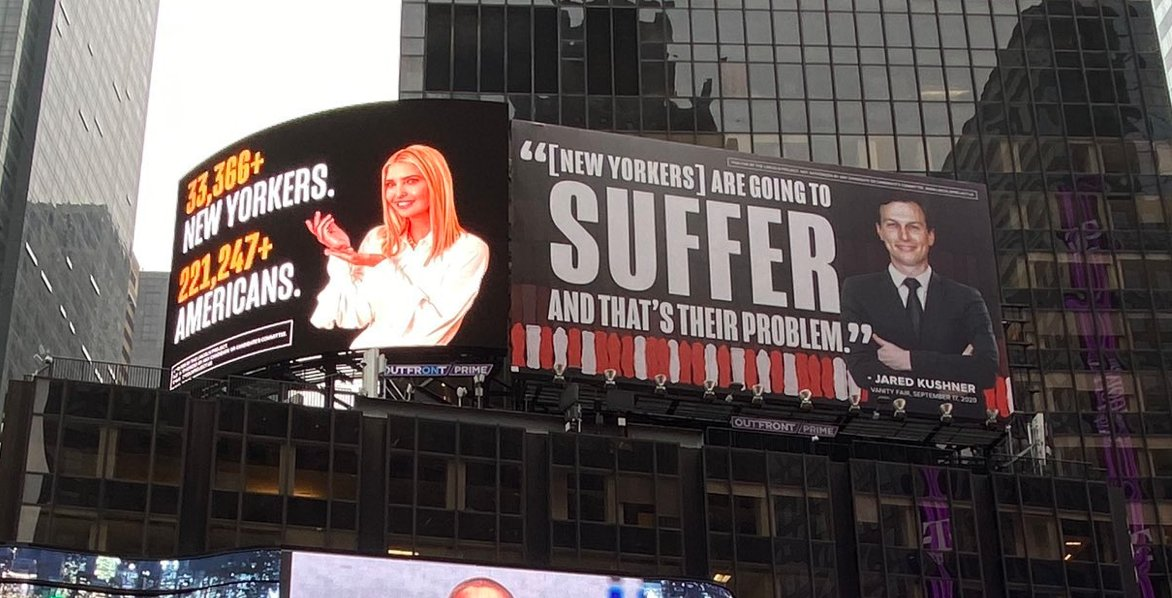 The Lincoln Project Ivanka Trump and Jared Kushner Billboards in Time Square