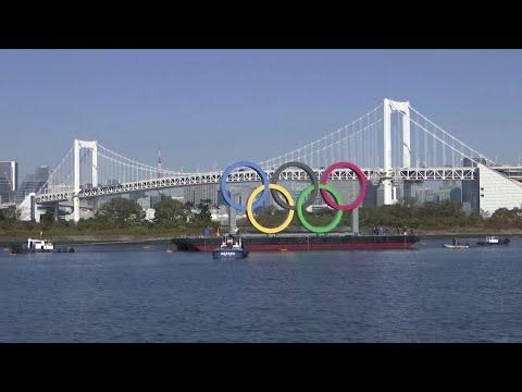 Olympic rings return to Tokyo Bay
