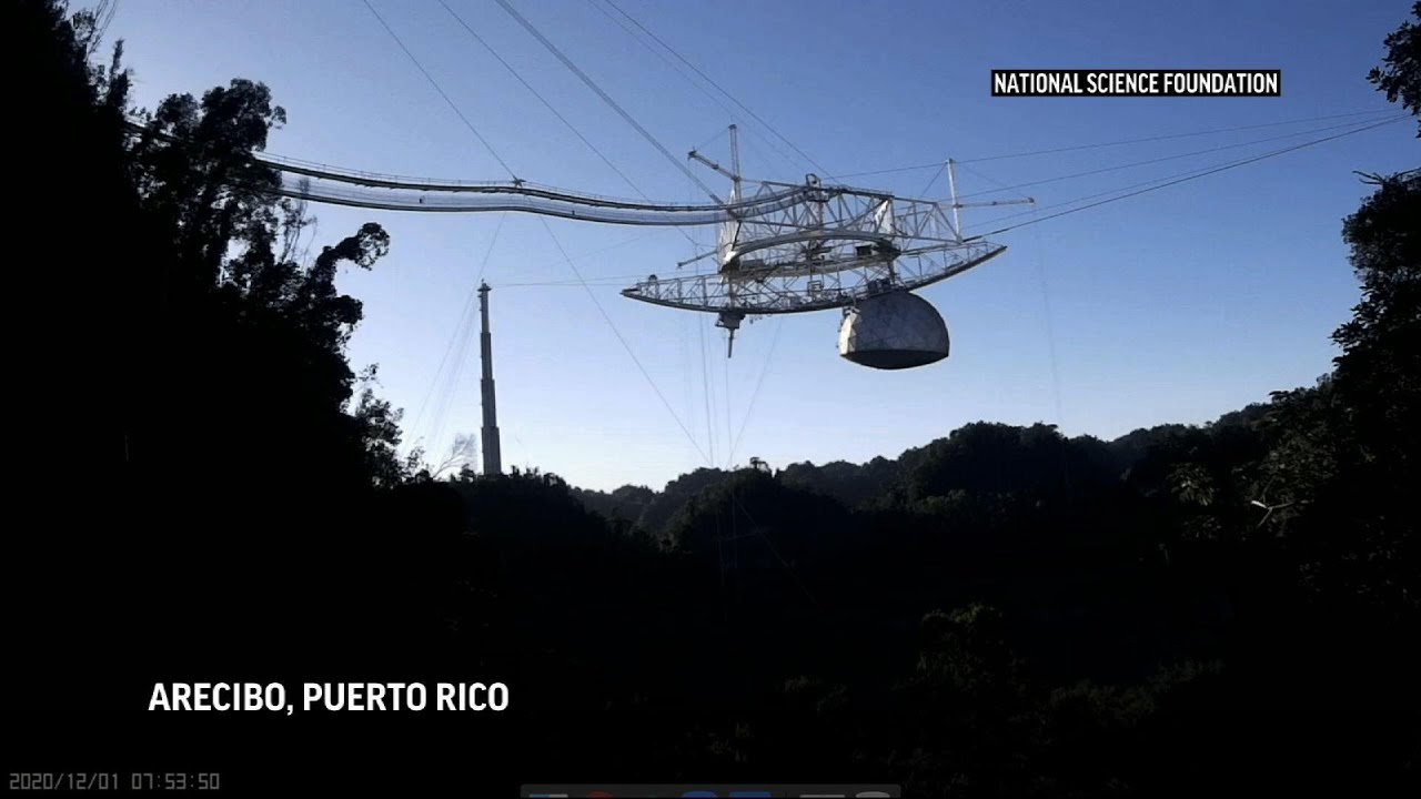 Damaged Puerto Rico radio telescope collapses