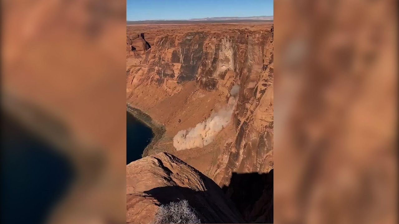 Grand Canyon rockslide caught on video by hiker