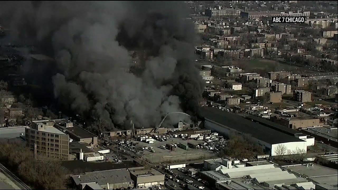 Massive fire at Chicago auto parts warehouse