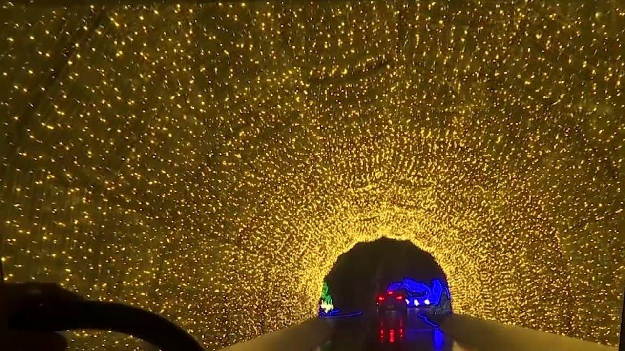 Families enjoy Xmas lights drive-thru in Sao Paulo