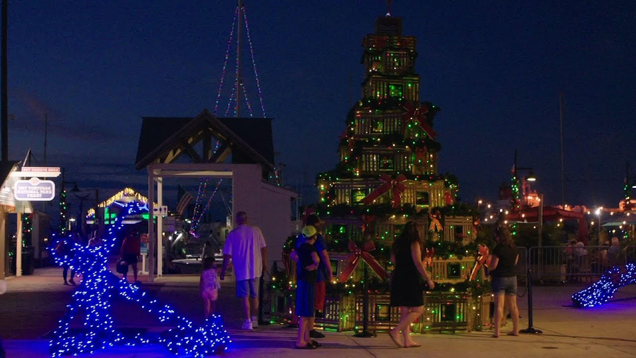Lobster trap holiday tree lights up in Key West