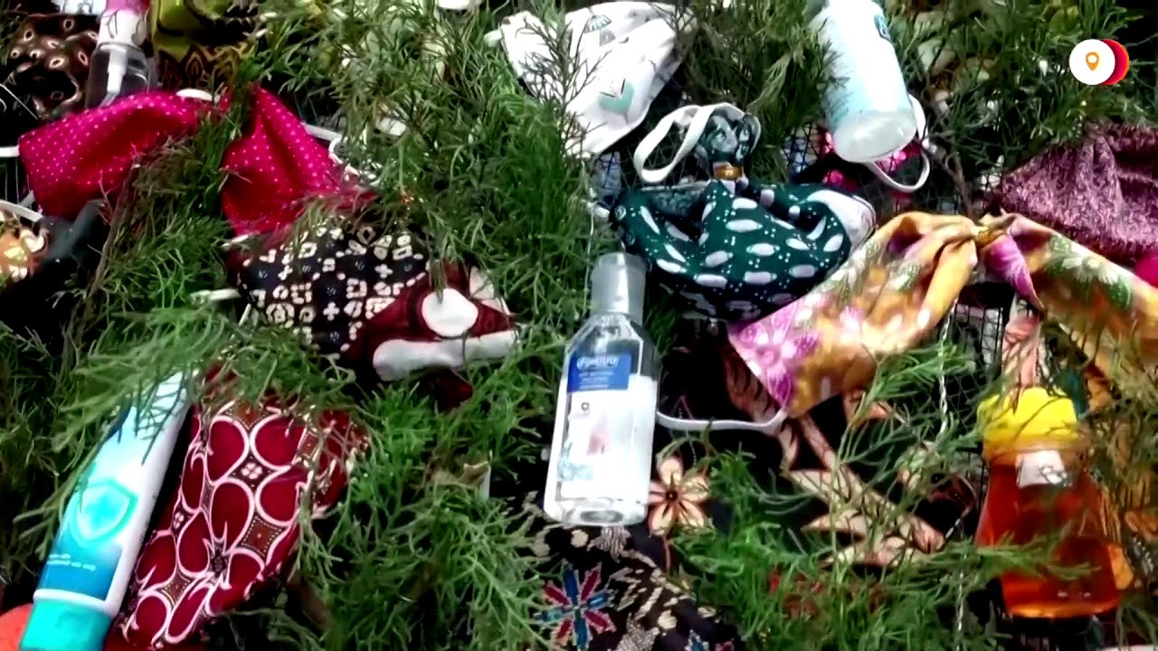 Indonesian church puts mask, sanitizers on Christmas tree