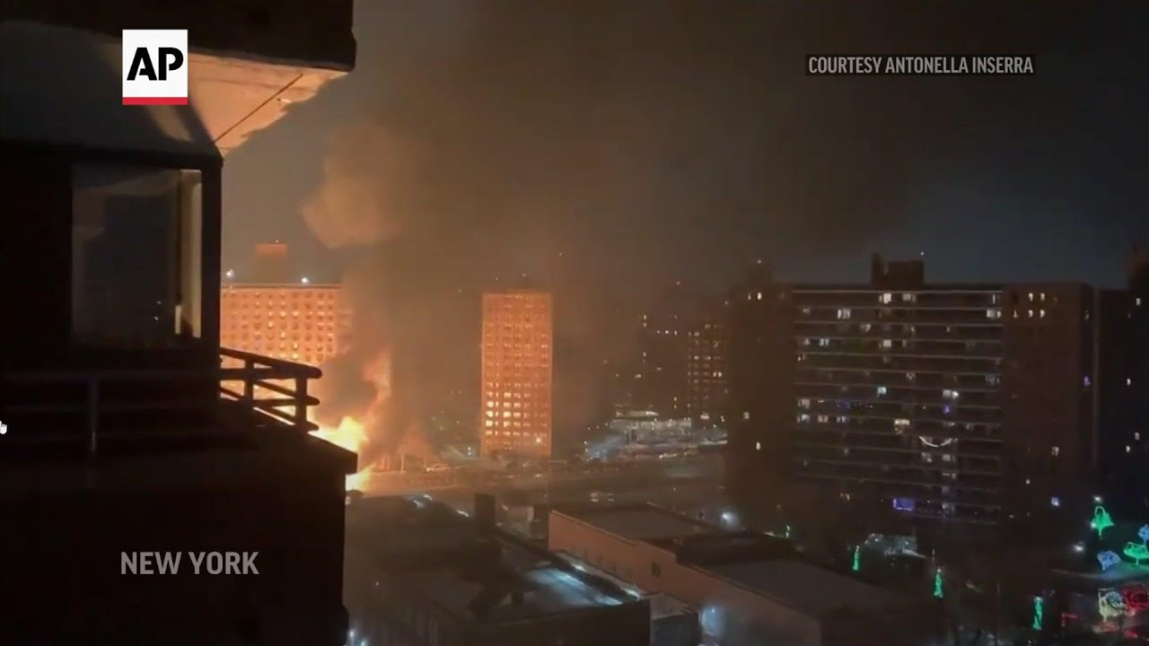 Truck filled with propane tanks crashes in NYC