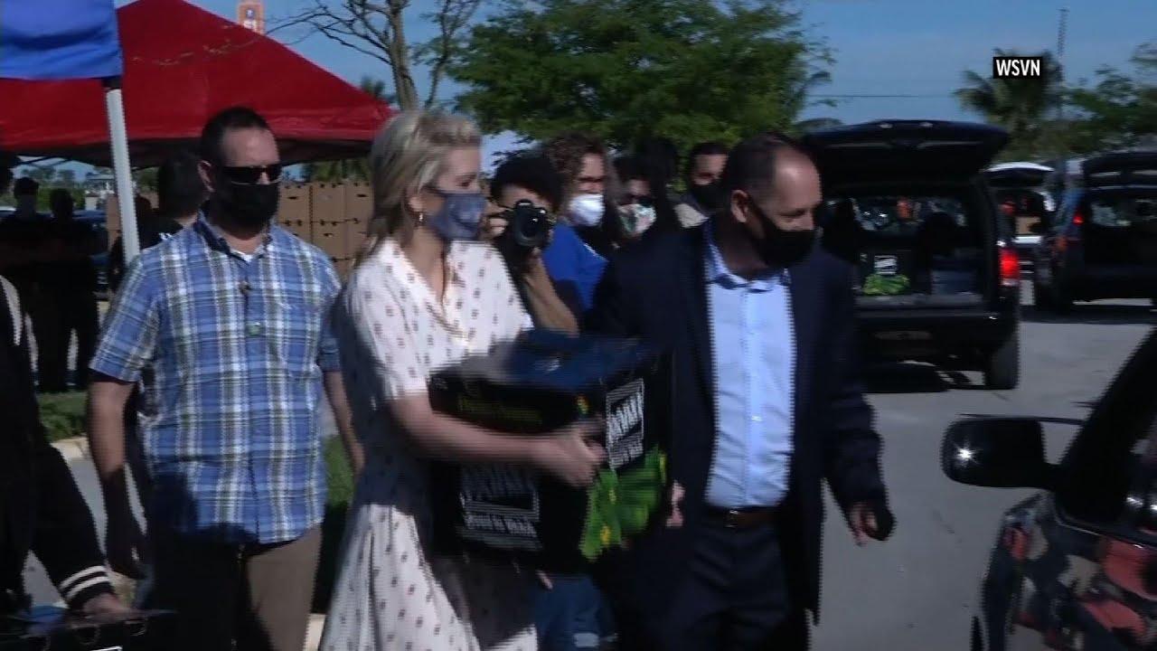 Ivanka Trump helps at drive-thru food distribution
