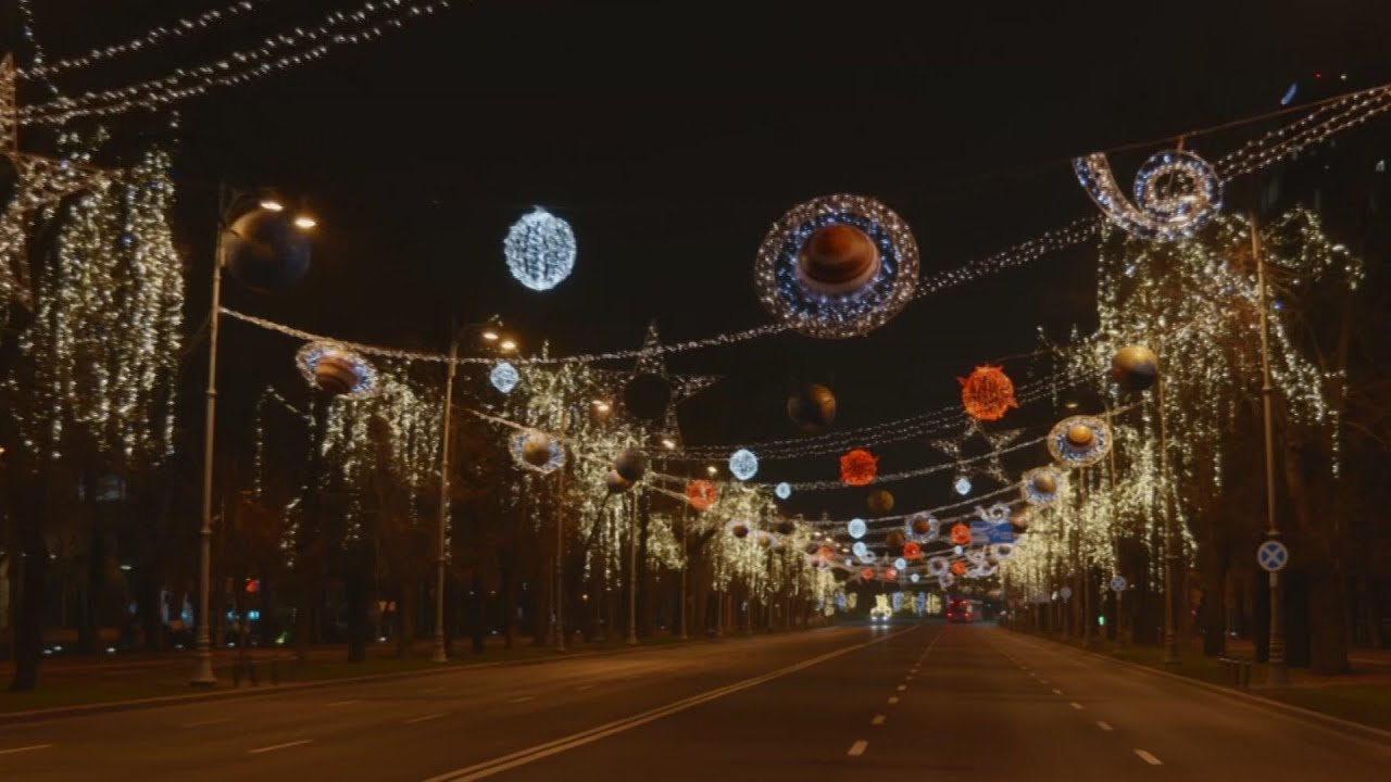 Bucharest lit up with Christmas lights