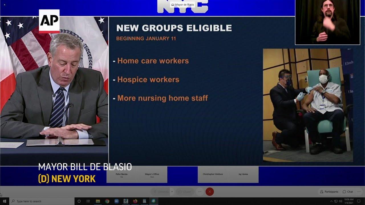 NYC mayor announces vaccination hubs