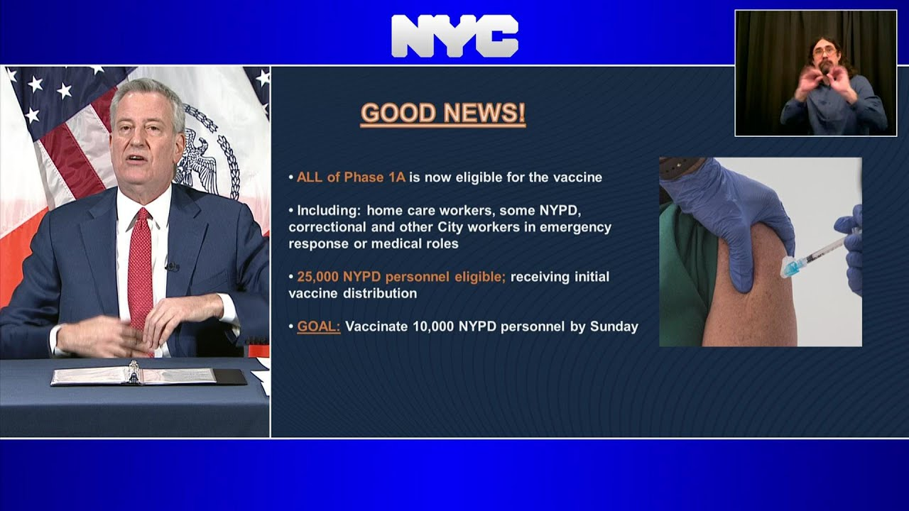 NYC to vaccinate 10,000 police by Sunday