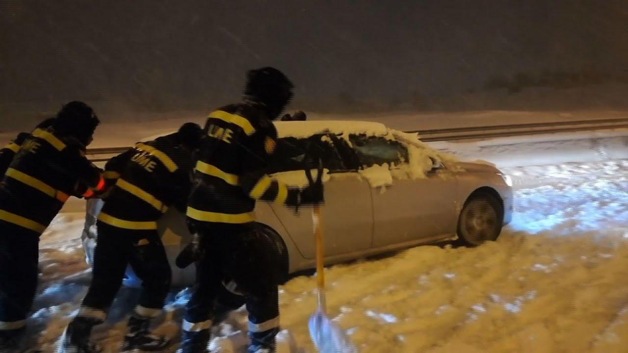 Madrid residents survey record snowfall