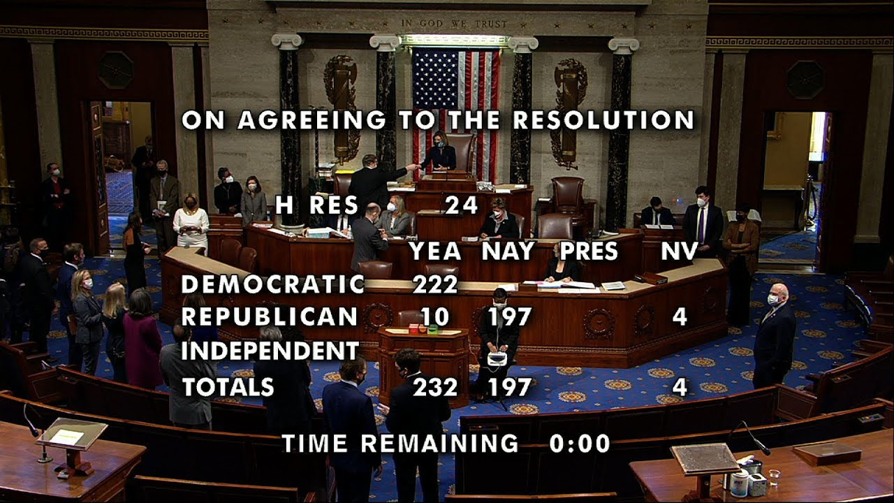 House votes to impeach Trump for second time