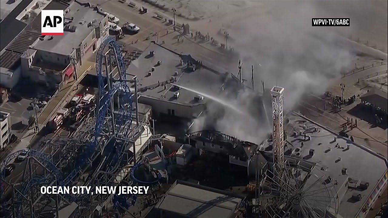 Large fire damages New Jersey amusement park