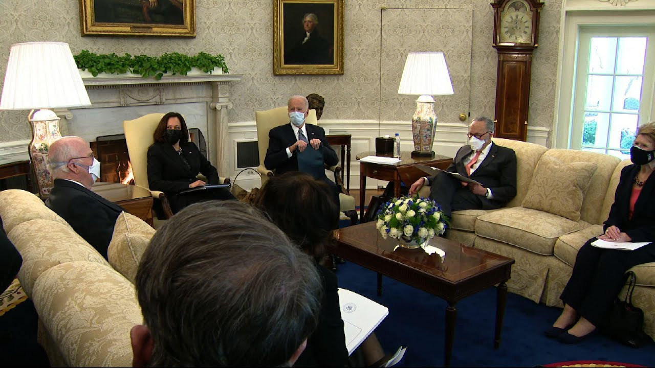 Biden meets with Democrats in Oval on COVID relief
