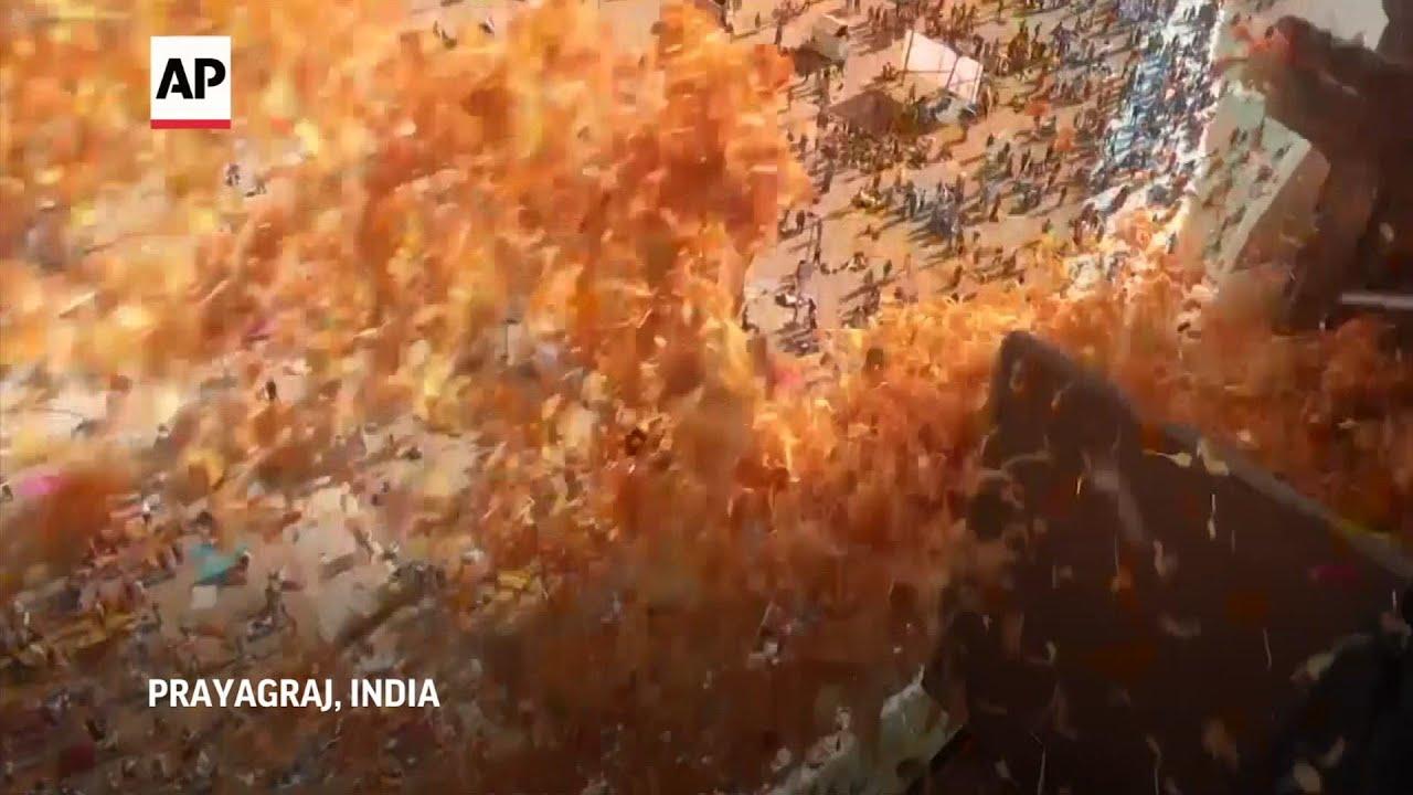Devotees take sacred dip during India's Magh Mela