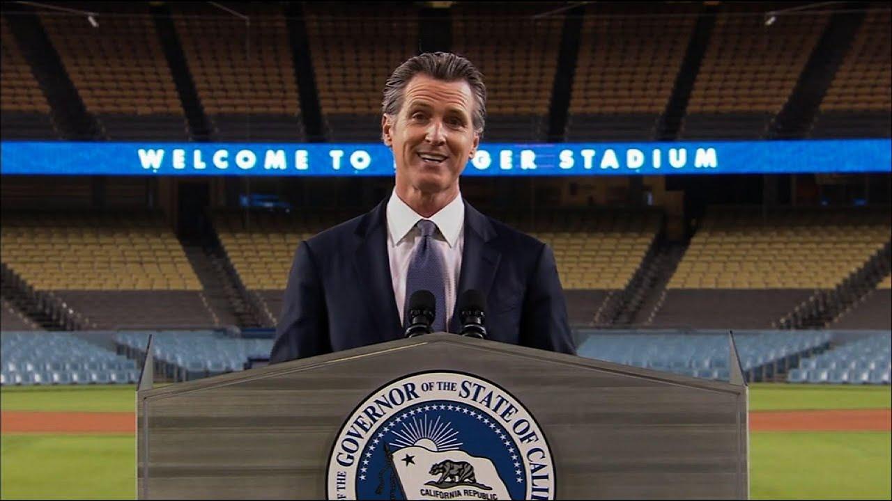 California governor gives speech in empty stadium