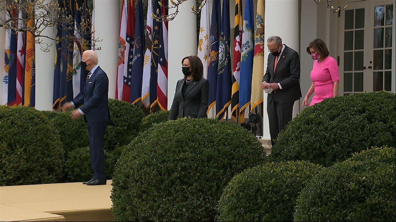 Biden celebrates COVID relief bill at White House