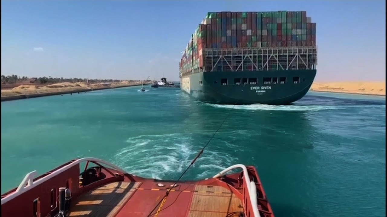 Cargo ship that blocked Suez Canal moves away