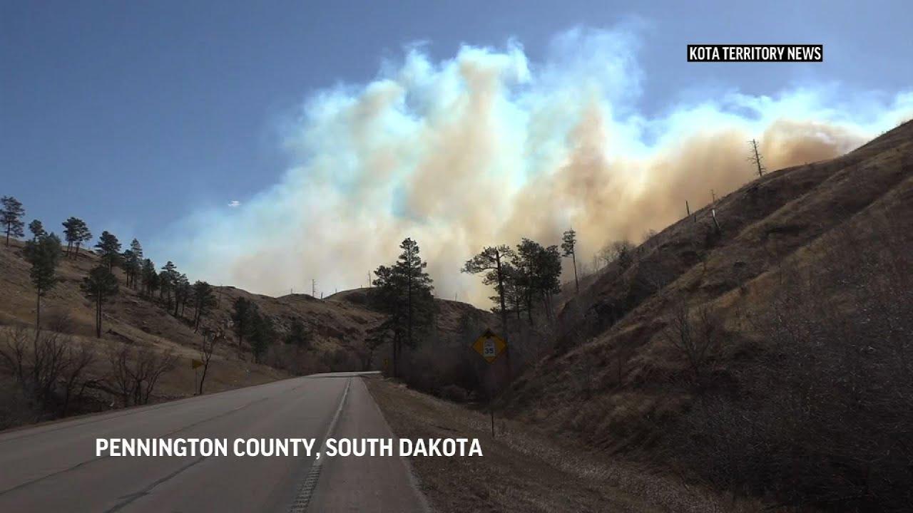 Strong winds fan South Dakota wildfires