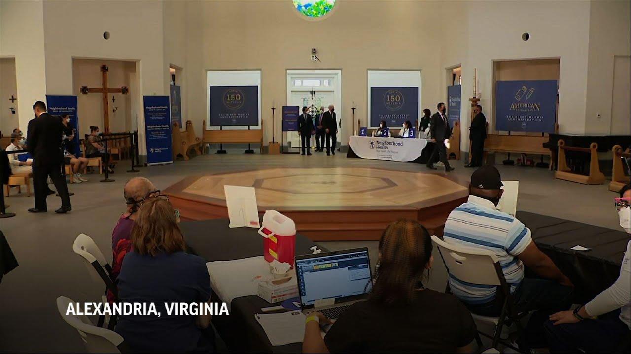 Biden visits vaccination site in Virginia