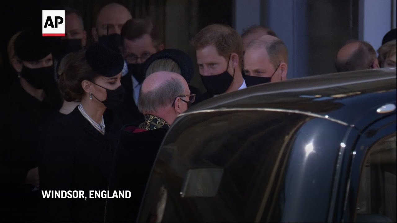 Harry and William walk together after Philip funeral