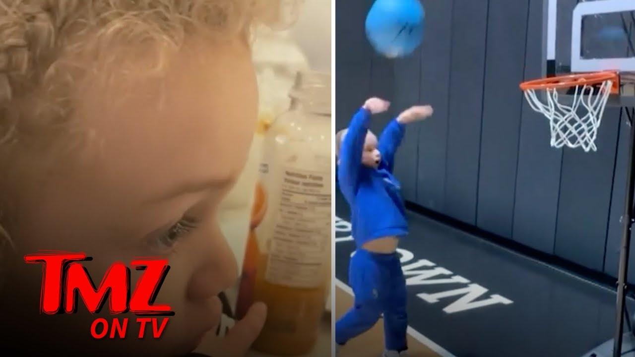 Drake's Son Adonis Reacts to LeBron James Highlights | TMZ TV
