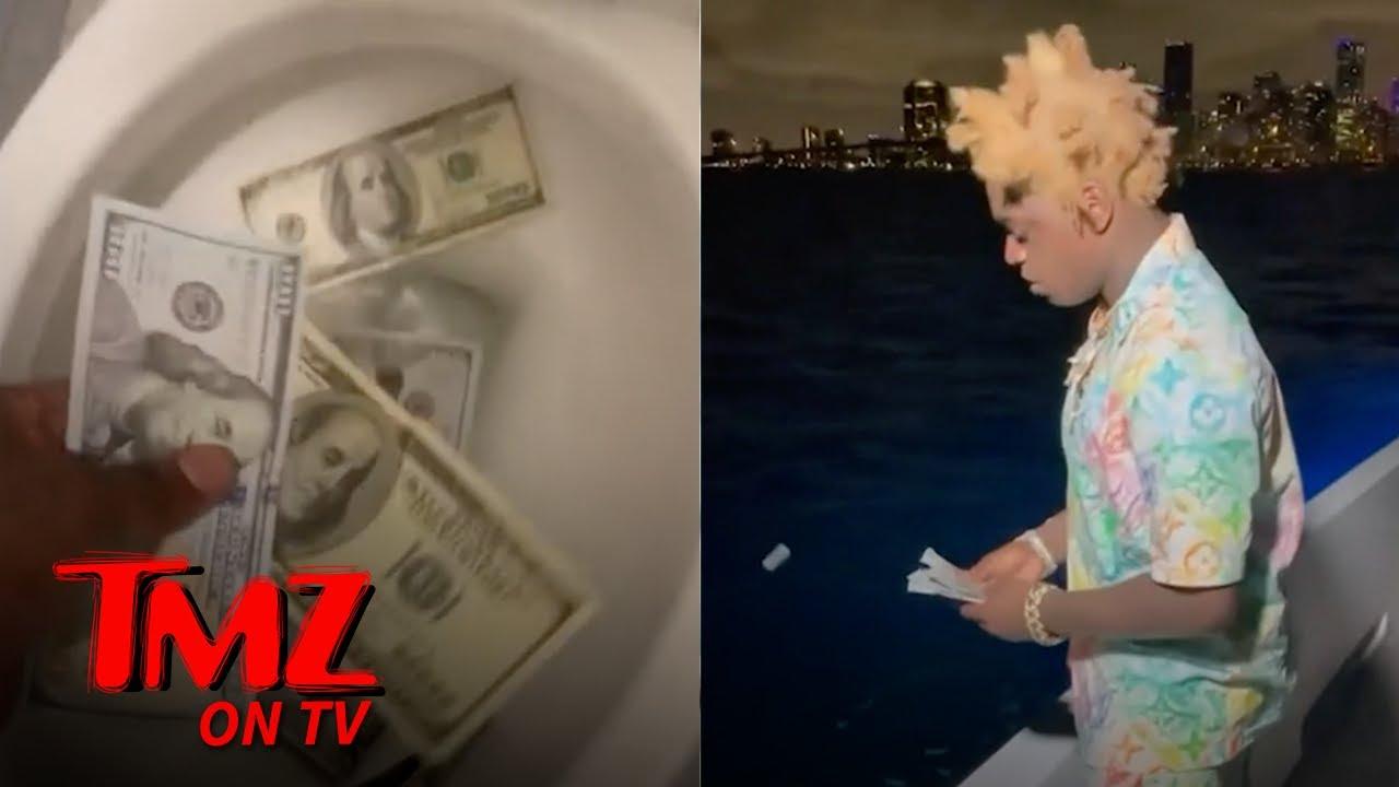 Kodak Black Flushes Money Down The Toilet, Throws It Into The Sea | TMZ TV